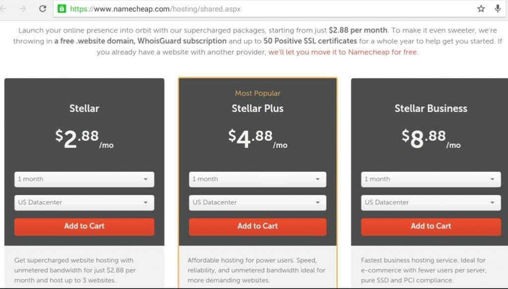 namecheap hosting package
