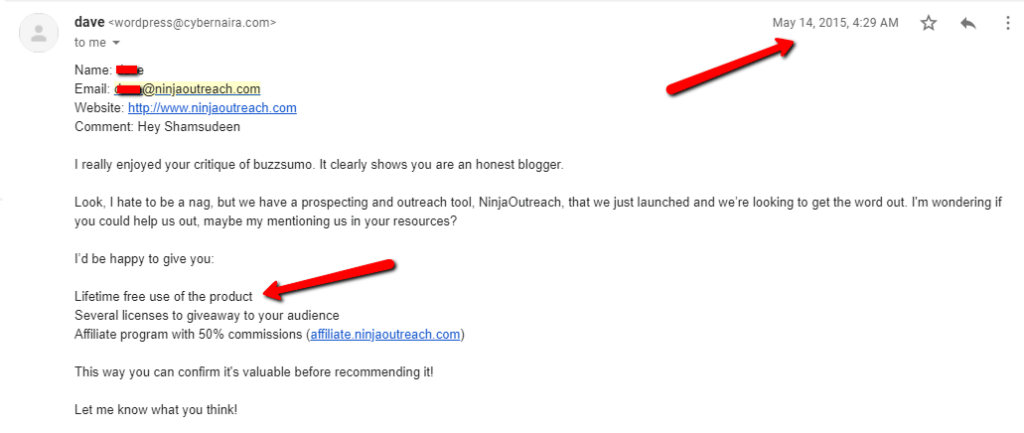 email message from ninjaoutreach rep