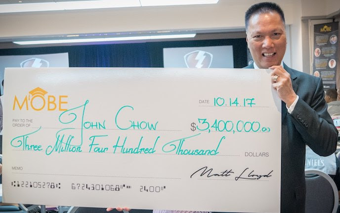 John chow and the MOBE check of $3,400,00