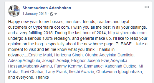 Facebook post 1st January 2015