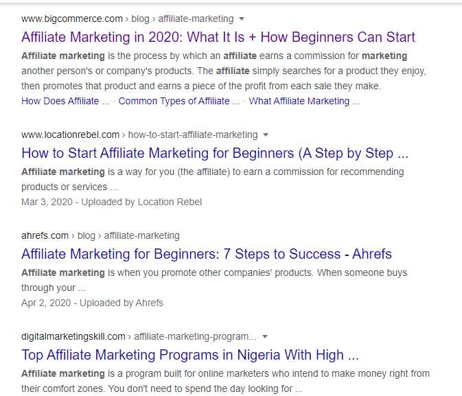 Google search result page without Moz bar