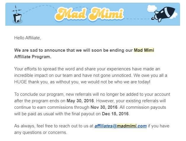 madmini closing affiliate program