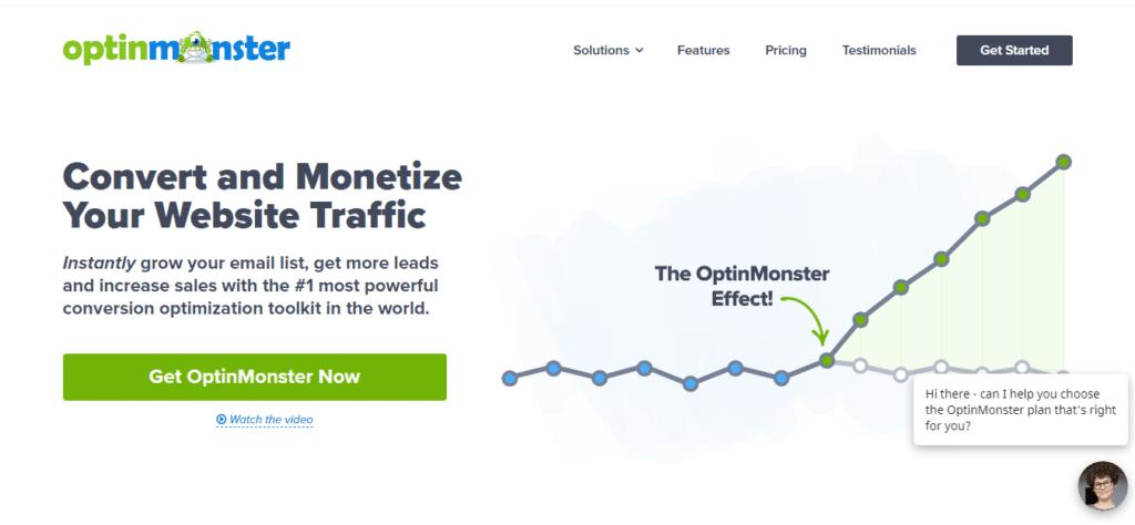 optinmonster website homepage
