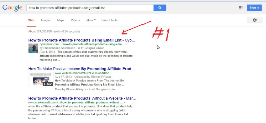 #1 position in Google search for a relevant keyword