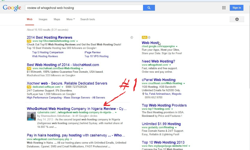another #1 position in Google search for a relevant keyword