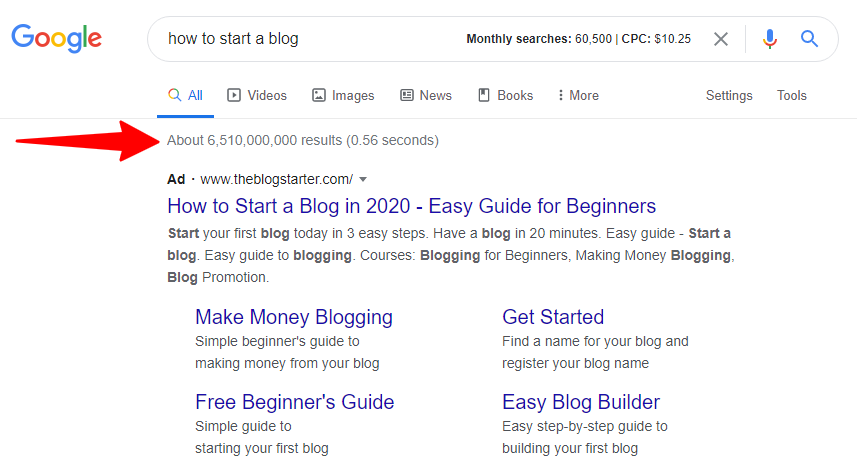 Google search for how to start a bog