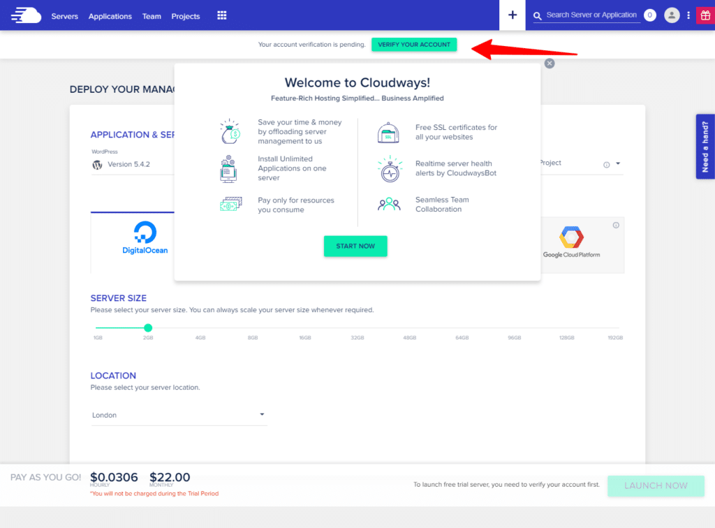 Welcome to Cloudways dashboard