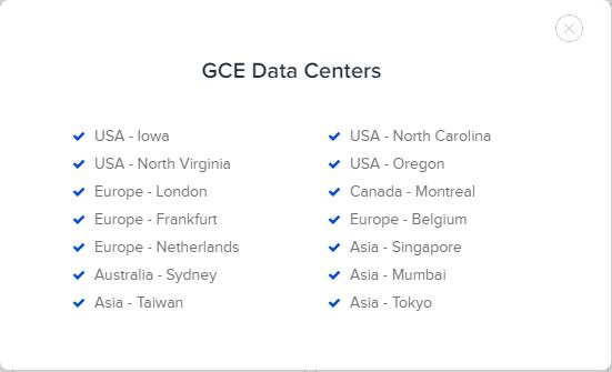Google cloud data center GCE