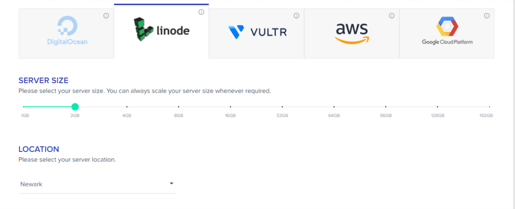 list of Cloudways cloud servers to choose from