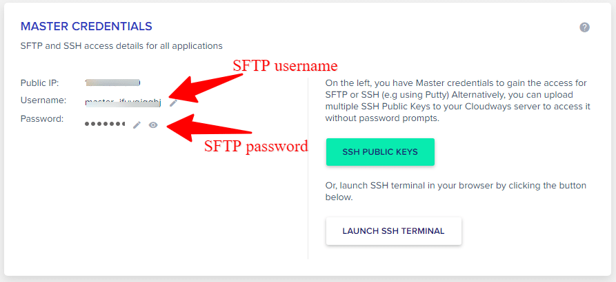 SFTP detail in cloudways account