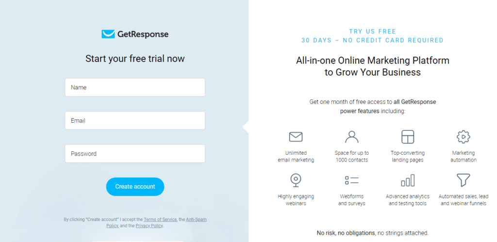 sign-up form on Getresponse website