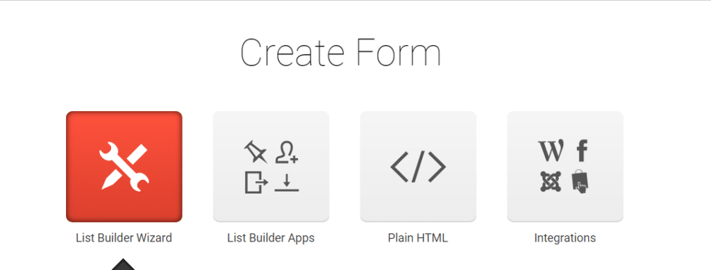 web forms creation tools in the Getresponse website