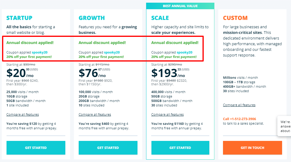 wp engine 2020 coupon offer page