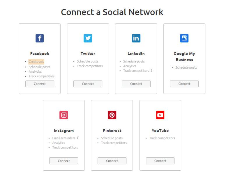connecting social media account in SEMrush