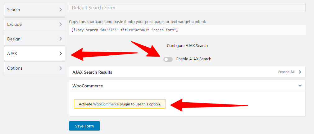 Ajax and Woocommerce settings in Ivory Search Plugin