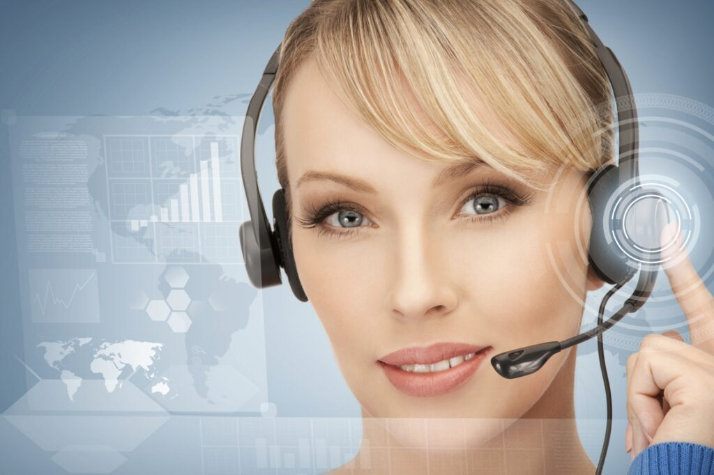 A lady virtual assistant with headset