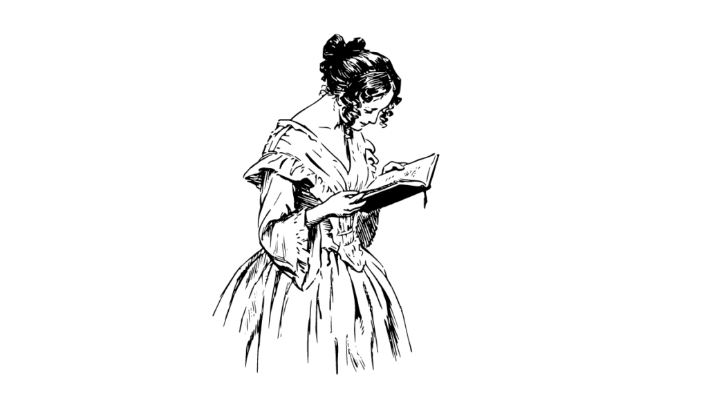 a woman reading from the book