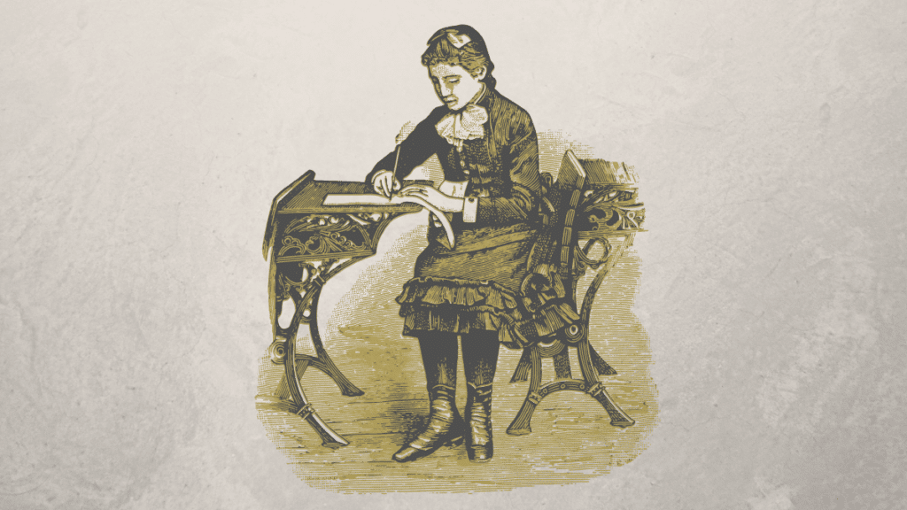 a man sitting on the chair while writing a book