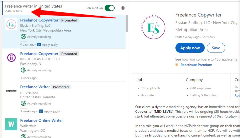 Freelance writer job posting search result on LinkedIn