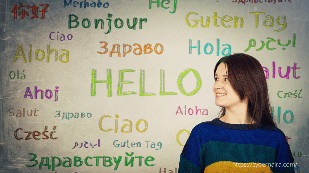 word translation board and a woman smiling