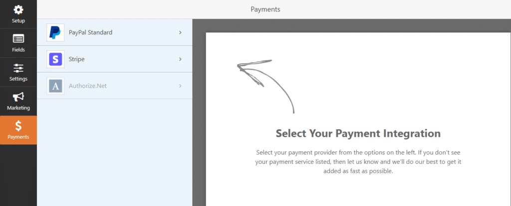 Payments Settings in WPForms - Stripe and PayPal