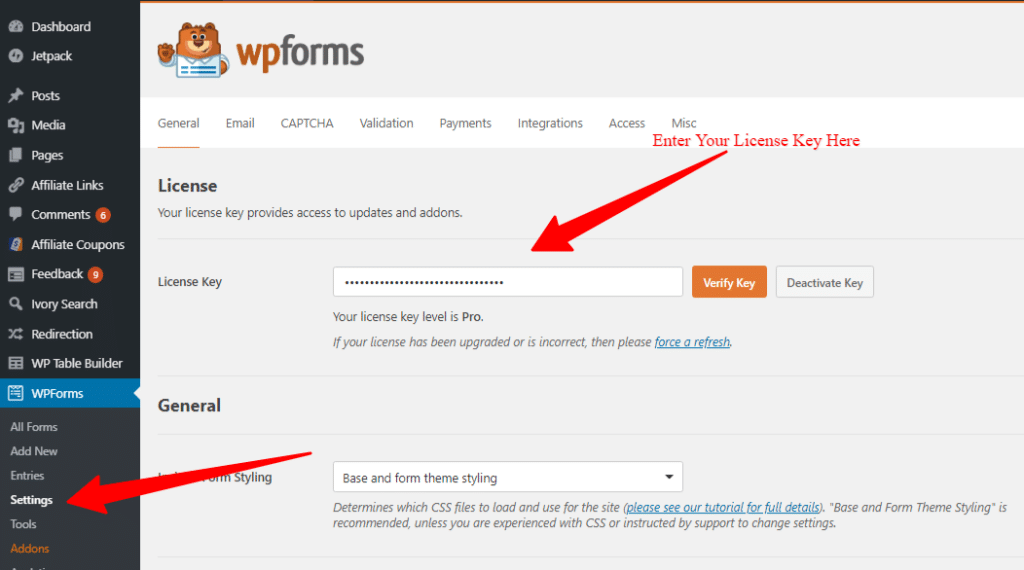 WPForms account license key settings page