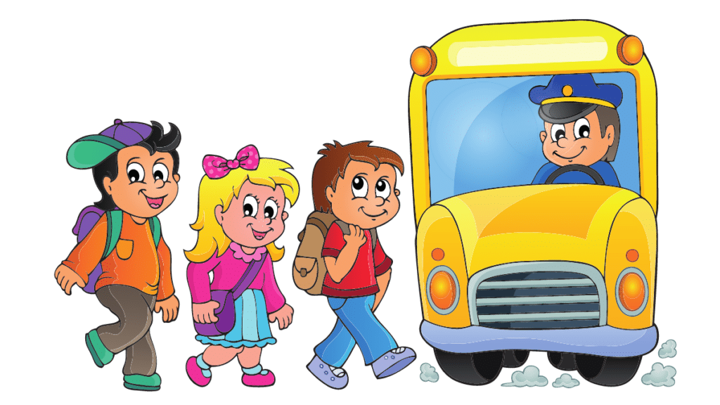 School Bus with students going in