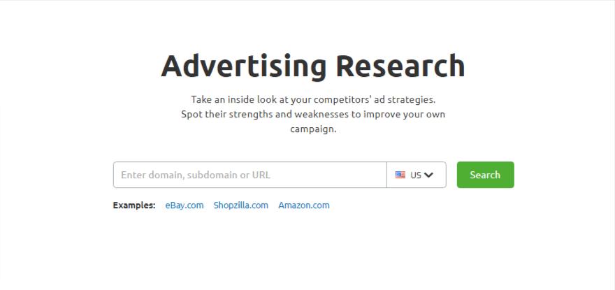 SEMrush advertising research tool